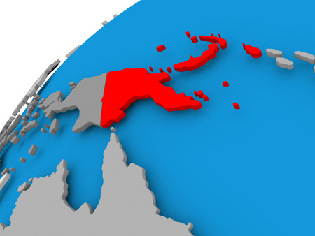 Papua New Guinea on simple political globe with visible country borders. 3D illustration.