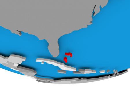 Bahamas on 3D model of political globe. 3D illustration. Stock Photo
