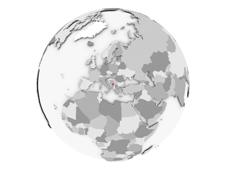 Montenegro highlighted in red on grey political globe. 3D illustration isolated on white background.