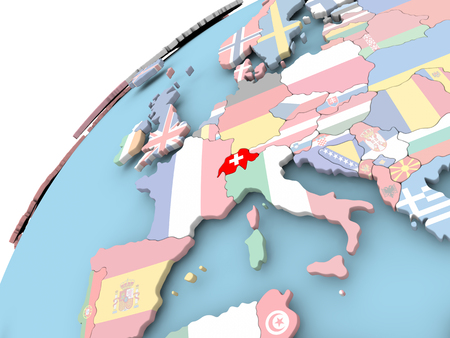 Carte de la suisse sur le globe politique avec le drapeau incorporé . illustration 3d Banque d'images - 86201230
