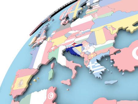 Map of Croatia on political globe with embedded flag. 3D illustration. Фото со стока
