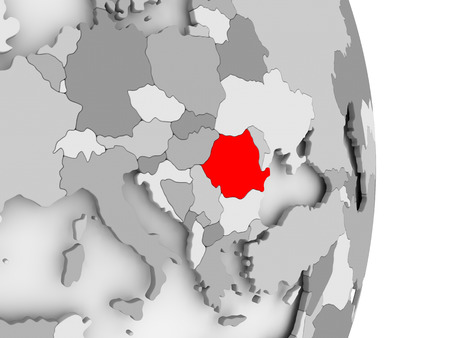 Romania highlighted in red on grey political globe. 3D illustration.