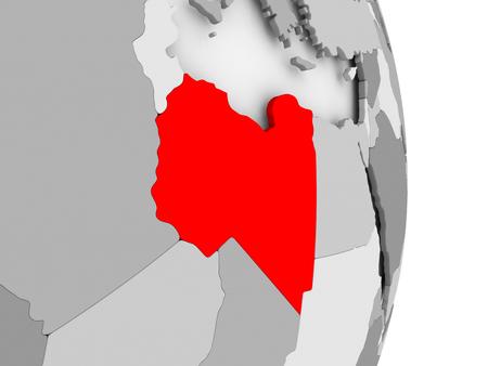 Libië gemarkeerd in het rood op grijze politieke wereld. 3D illustratie.