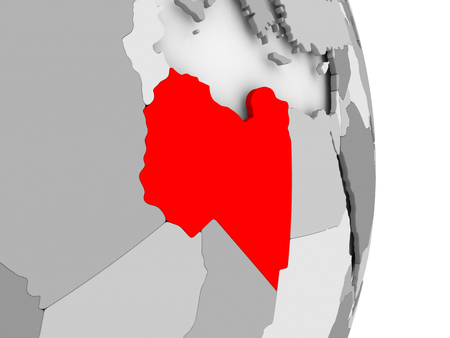 Libya highlighted in red on grey political globe. 3D illustration.