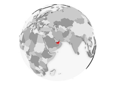United Arab Emirates highlighted in red on grey political globe. 3D illustration isolated on white background. Stock Photo