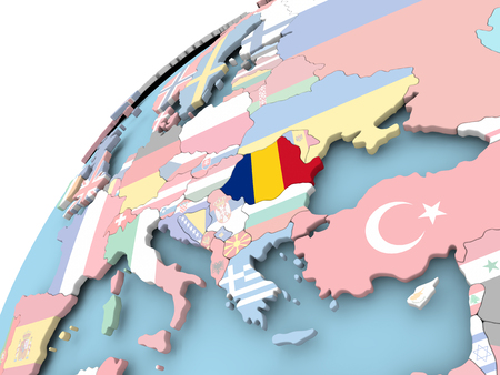 Map of Romania on political globe with embedded flag. 3D illustration.