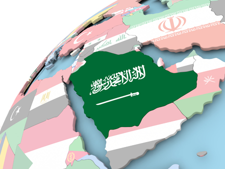 Map of Saudi Arabia on political globe with embedded flag. 3D illustration.