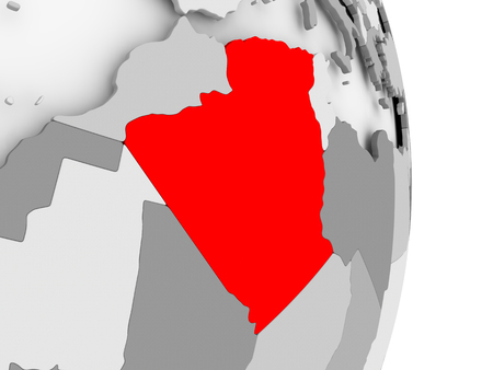 Algeria highlighted in red on grey political globe. 3D illustration. Stock Photo