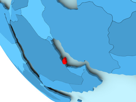 Qatar highlighted in red on blue political globe. 3D illustration. Stock Photo