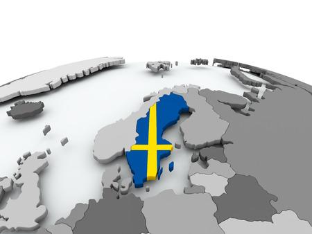 Zweden op grijze politieke wereldbol met ingesloten vlag. 3D illustratie. Stockfoto