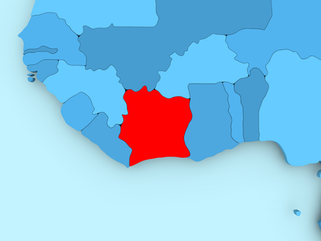 Ivory Coast In Red On Blue Political Map D Illustration Stock - Us political map red blue