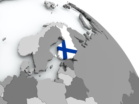 Finland on globe with flag. 3D illustration.