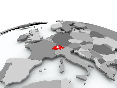 La Suisse sur le globe politique gris avec le drapeau incorporé. Illustration 3D Banque d'images - 86566320