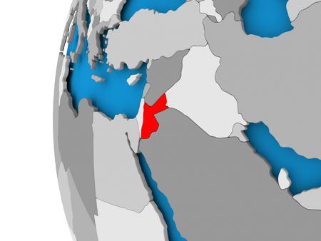 Jordanië in het rood op politieke wereld. 3D illustratie. Stockfoto