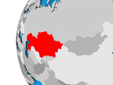Kazakhstan in red on political globe. 3D illustration. Reklamní fotografie