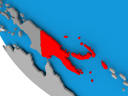 Map of Papua New Guinea in red on political globe. 3D illustration.
