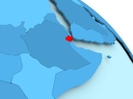 Djibouti highlighted on blue 3D model of political globe. 3D illustration.