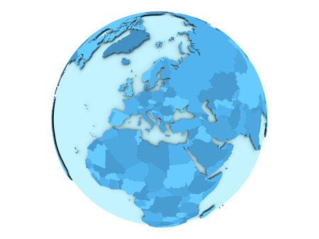 Kosovo highlighted in red on blue political globe. 3D illustration isolated on white background.