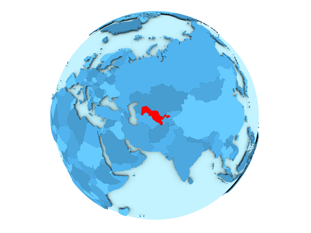 Uzbekistan highlighted in red on blue political globe. 3D illustration isolated on white background. Stok Fotoğraf
