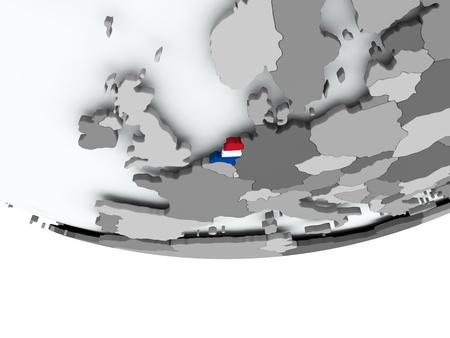 3D render van Nederland met vlag op grijze wereldbol. 3D illustratie.