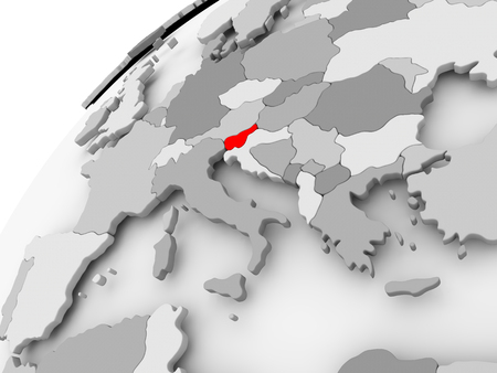 Map of Slovenia in red on grey political globe. 3D illustration.