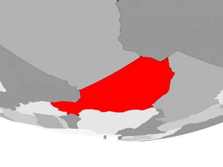 Niger in red on grey political globe. 3D illustration.