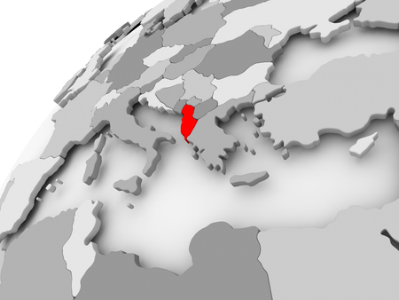 Map of Albania in red on grey political globe. 3D illustration.