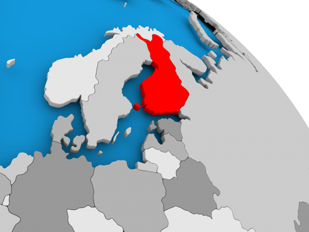 Illustration of Finland highlighted in red on globe. 3D illustration.