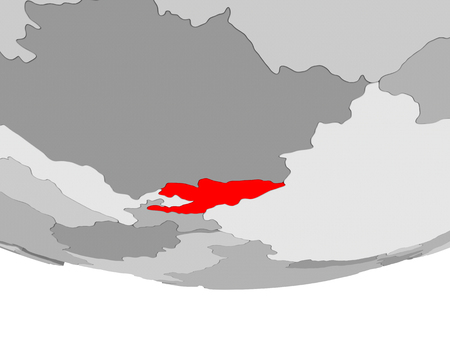 Kyrgyzstan in red on grey political globe. 3D illustration.