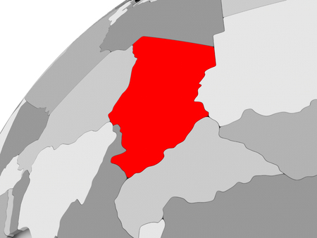 Map of Chad in red on grey political globe. 3D illustration. Фото со стока