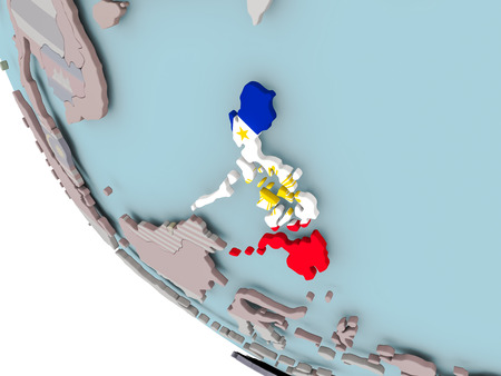 Map of Philippines on political globe with embedded flags. 3D illustration.