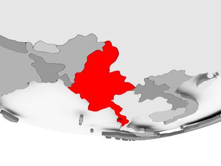 Myanmar in red on grey political globe. 3D illustration.