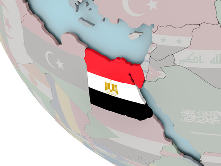 Map of Egypt on political globe with embedded flags. 3D illustration. Stock Photo