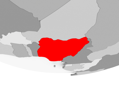 Nigeria in red on grey political globe. 3D illustration.
