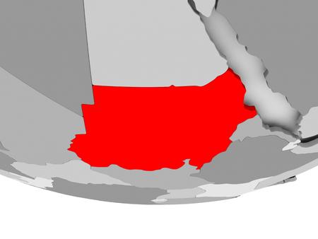 Soedan in het rood op grijze politieke wereld. 3D illustratie. Stockfoto