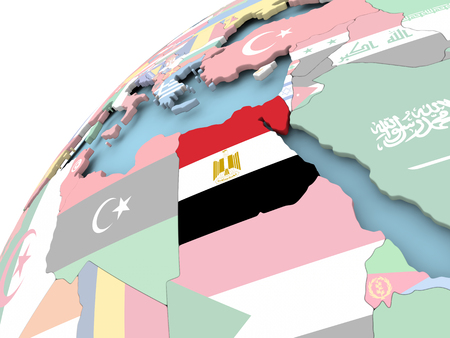 Map of Egypt on political globe with embedded flag. 3D illustration.