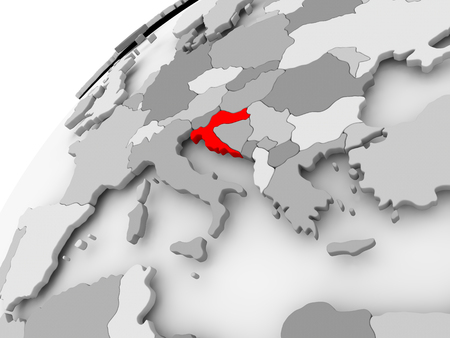 Map of Croatia in red on grey political globe. 3D illustration.