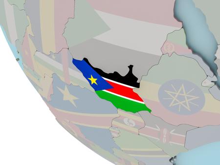 포함 된 플래그 정치 지구에 남쪽 수단의지도. 3D 그림입니다. 스톡 콘텐츠