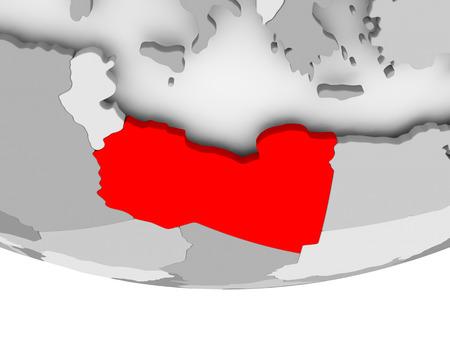Libië in het rood op grijze politieke wereld. 3D illustratie.