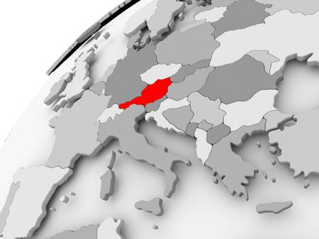 灰色の政治世界の赤でオーストリアの地図。3 D イラスト。