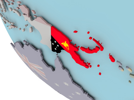 Map of Papua New Guinea on political globe with embedded flags. 3D illustration. Stock Photo