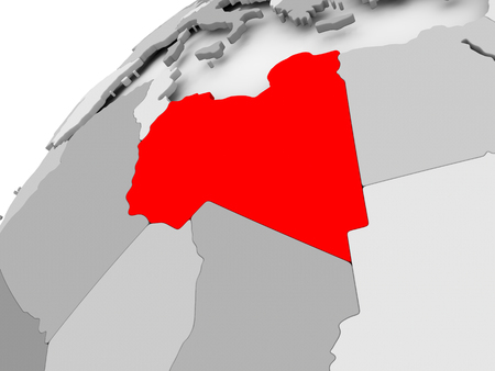 Map of Libya in red on grey political globe. 3D illustration.