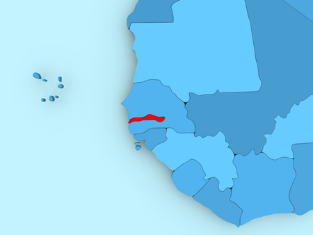 Gambia in red on blue political map. 3D illustration.