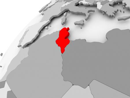 Kaart van Tunesië in het rood op grijze politieke wereld. 3D illustratie.