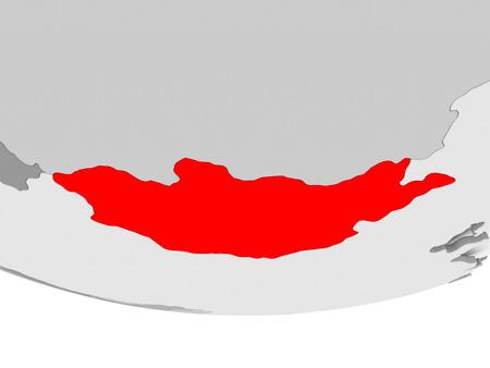 Mongolia in red on grey political globe. 3D illustration. Stok Fotoğraf
