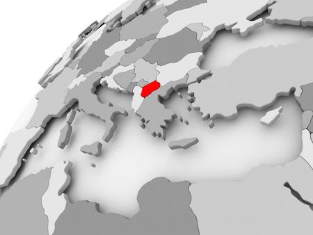Kaart van Macedonië in het rood op grijze politieke wereld. 3D illustratie.