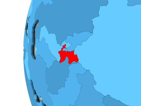 3D render of Tajikistan in red on blue political globe. 3D illustration.
