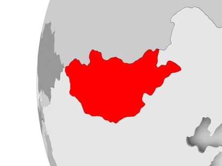 Mongolia highlighted on grey 3D model of political globe. 3D illustration.