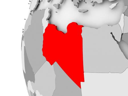 Libië gemarkeerd op grijs 3D-model van de politieke wereld. 3D illustratie. Stockfoto