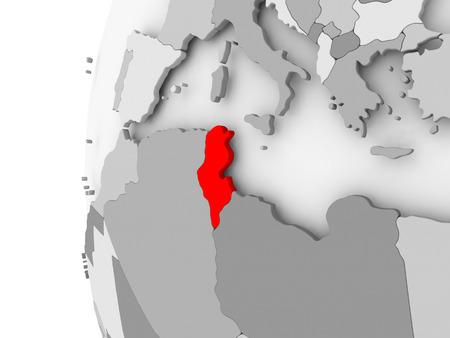 チュニジアの政治世界の 3D モデルの灰色で強調表示されます。3 D イラスト。